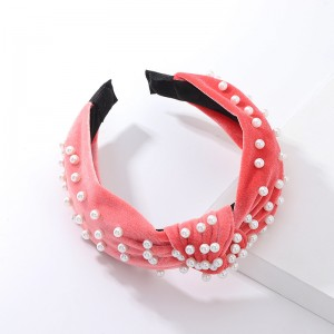 WENZHE Retro velvet knot headband with White Pearl Hair Band