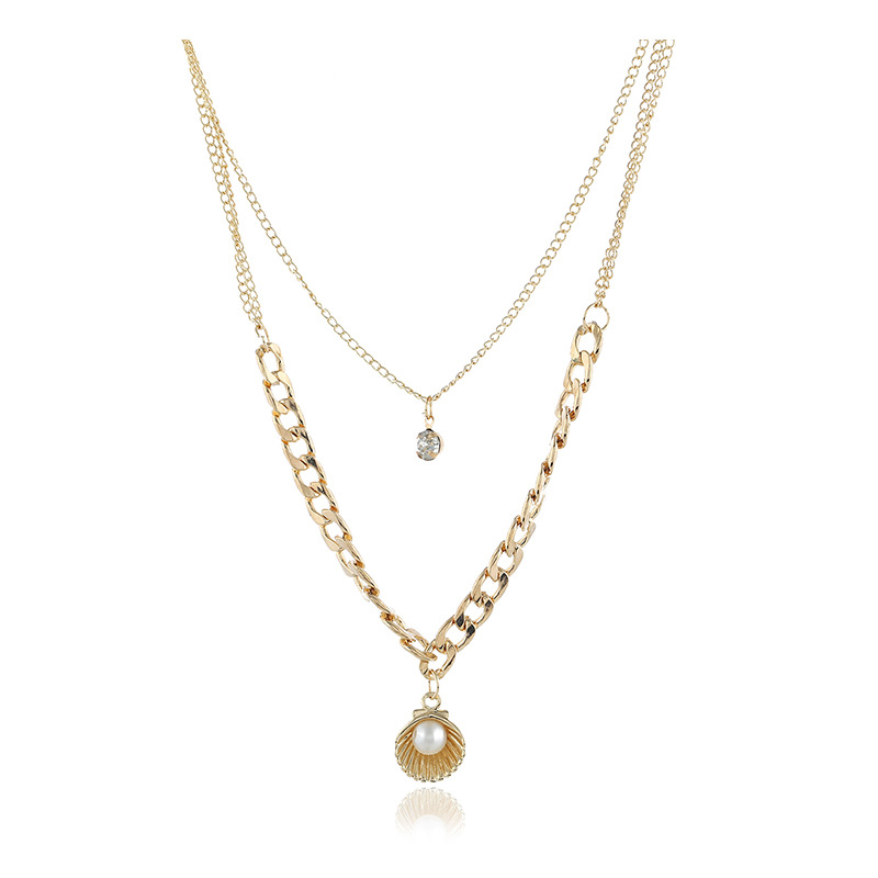European And American Fashion Simple Temperament Pearl Shell Shape Pendant Multi-Layer Short Clavicle Necklace Featured Image