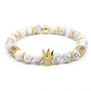 WenZhe Crown Charm Stone Beads Bracelet