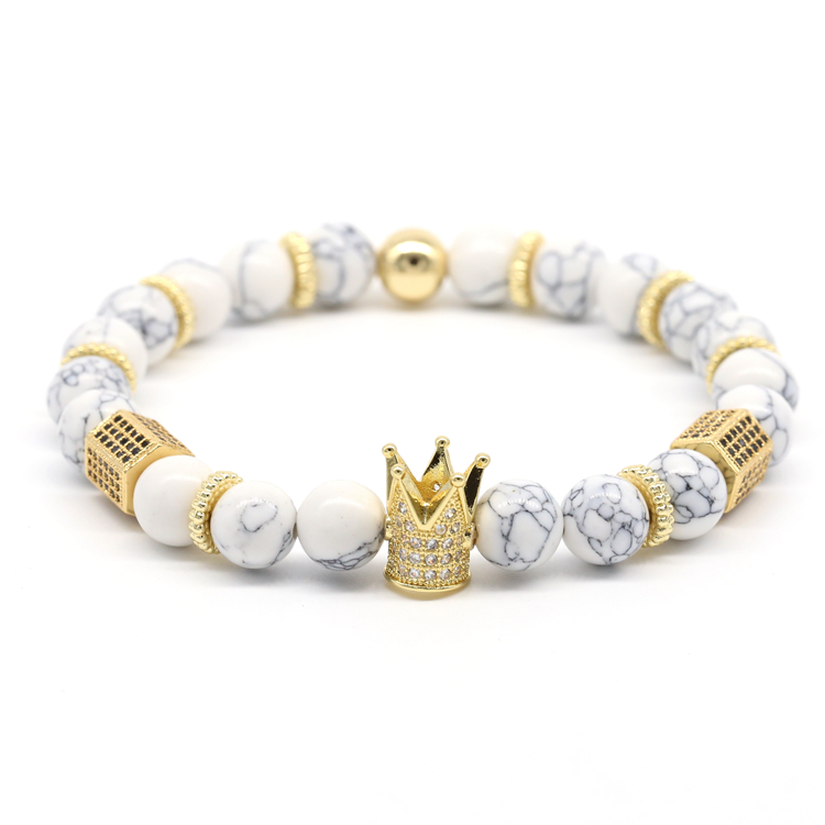WenZhe Crown Charm Stone Beads Bracelet Featured Image