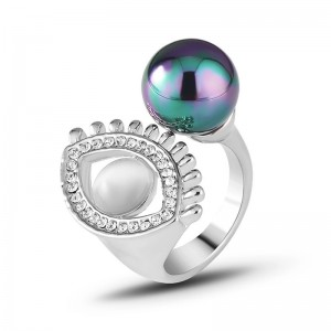 European and American Classic Punk Style Big Colorful Pearl Eye Of Evil Finger Ring