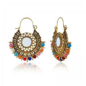 WENZHE Elegant etnnic bohemian boho indian party vintage sun flower openwork earrings woman jewelry