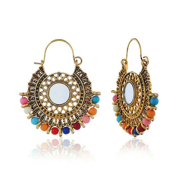 WENZHE Elegant etnnic bohemian boho indian party vintage sun flower openwork earrings woman jewelry Featured Image