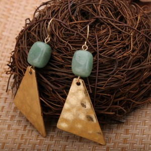 Latest new designs single natural stone earrings gold plated drop earrings