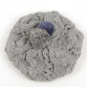 WENZHE New Design Women Warm Winter Knitted Fur Ball Beret Hat