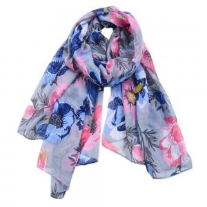WENZHE New Style Satin Printed Leaf Flower Scarf Women Colorful Shawl Beach Towel Scarf