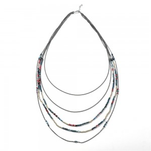 WENZHE New Arrival Colorful Glass Beaded Multi-layer Chain Necklace For Women