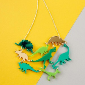 Dinosaur Necklace  Green OR Pink Mirror acrylic dinosaur statement necklace  Laser cut Dinosaur Acrylic Jewellery