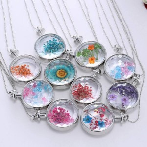 Hot Fashion Crystal Round Glass Silver Chain Lavender Dried flowers Pendant Necklaces Women