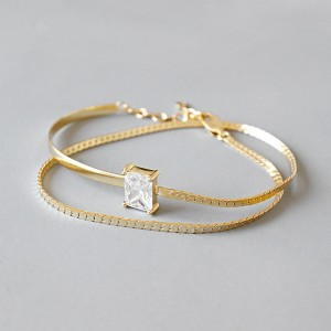 Fashion Minimalism Style 925 Sterling Silver Gold Bangle White Zircon Bracelet