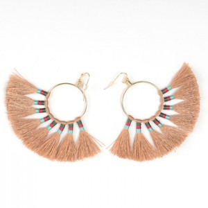 European and American fashion women's gift personality creative circle alloy tassel earrings