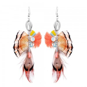 2019 spring and summer new ethnic style stainless steel irregular feather earrings shell shaped earring luxury earring for women