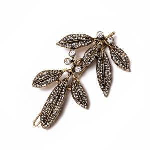 WENZHE Wholesale rhinestone barrette leaf hair clip old gold, old silver luxury hairpin