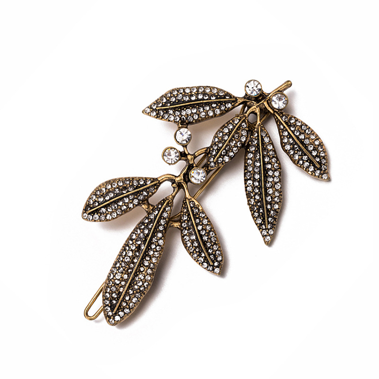 WENZHE Wholesale rhinestone barrette leaf hair clip old gold, old silver luxury hairpin Featured Image