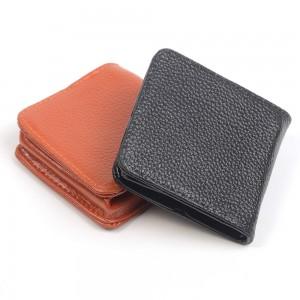 WENZHE Short Design Business Men Leather Card Wallet