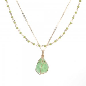 WENZHE New Design Natural Stone Druzy Pendant Jewelry Multi-layer Beaded Gold Chain Necklace