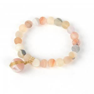 WENZHE Wholesale Multiple Color Natural Stone Bead Bracelet Women Agate Stone Bracelet