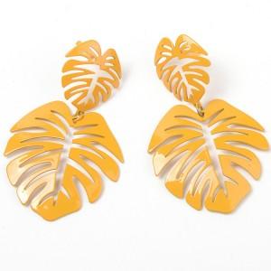 2019 Hot Sale Fashion Simple Style Alloy Yellow Leaf Drop Earrings For Women Girl Leaves Earrings Accessories