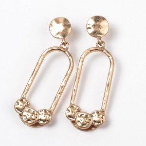 Personalized Gold Oval Shape Alloy Earring Statement Gold Plated Irregular Drop Earring