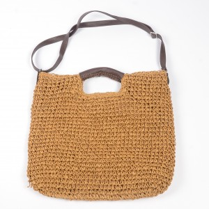 WENZHE Eco-friendly Portable Casual Paper Tote Bag Women Summer Beach Straw Bag Lady Large Rattan Woven Handbag
