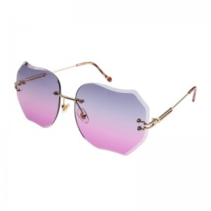 WENZHE Polygonal Rimless European and American Trimming Gradual Change Ocean Color Multi Touch Polygonal Sunglasses