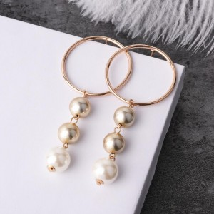 New design women jewelry gold circle pearl tassel pendant earring
