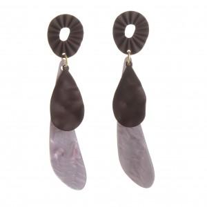 WENZHE Summer Jewelry Newest Designs Purple Color Acrylic Water Drop Earrings Geometric Leaf Dangle Earring