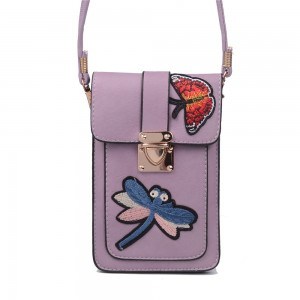 WENZHE Luxury Embroidered PU Leather Mini Crossbody Single Shoulder Bag Cell Phone Pouch