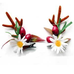 Fashion Design Handmade Christmas Flower And Berry Hair Clip With Antler