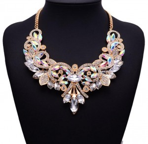 Exaggerated Clavicle Chain Accessories Women Hollow Crystal Flower Statement Choker Necklace