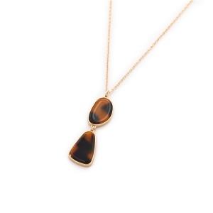 WENZHE Amber Acrylic Irregular Shaped Gold Plated Pendant Necklace For Women