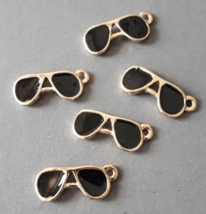 10pcs-gold tone sun glasses charm-enamel sun glasses Charm