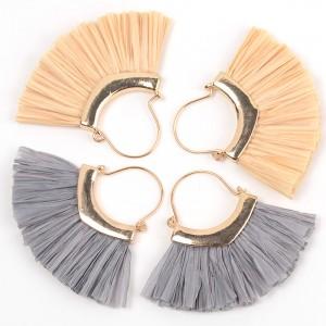 2019 New Handmade Bohemian Gold Hoop Lafite Grass Multi Tassel Drop Earring