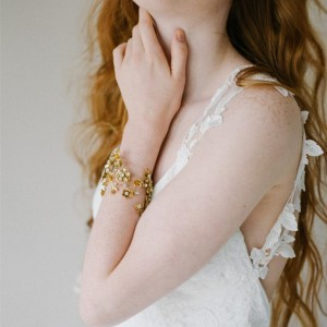 Crystal Bridal Cuff Bracelet Floral Statement Wedding Jewelry Gold Nature Inspired Bridal Bracelet