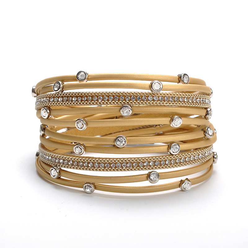 WENZHE Fashion Leather Magnetic Clasp Crystal Multi-layer Bracelet Wholesale Featured Image