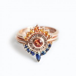 Sunset Ring Set Sapphire Engagement Set Two Matching Bands and a Solitaire