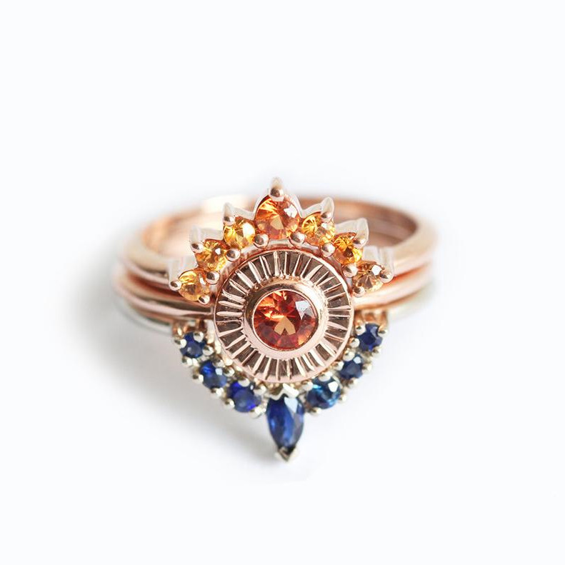 Sunset Ring Set Sapphire Engagement Set Two Matching Bands and a Solitaire Featured Image