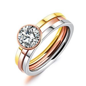 New Arrival Bridal Ring Sets For Women 3 Colors Stainless Steel Zircon Ring Set