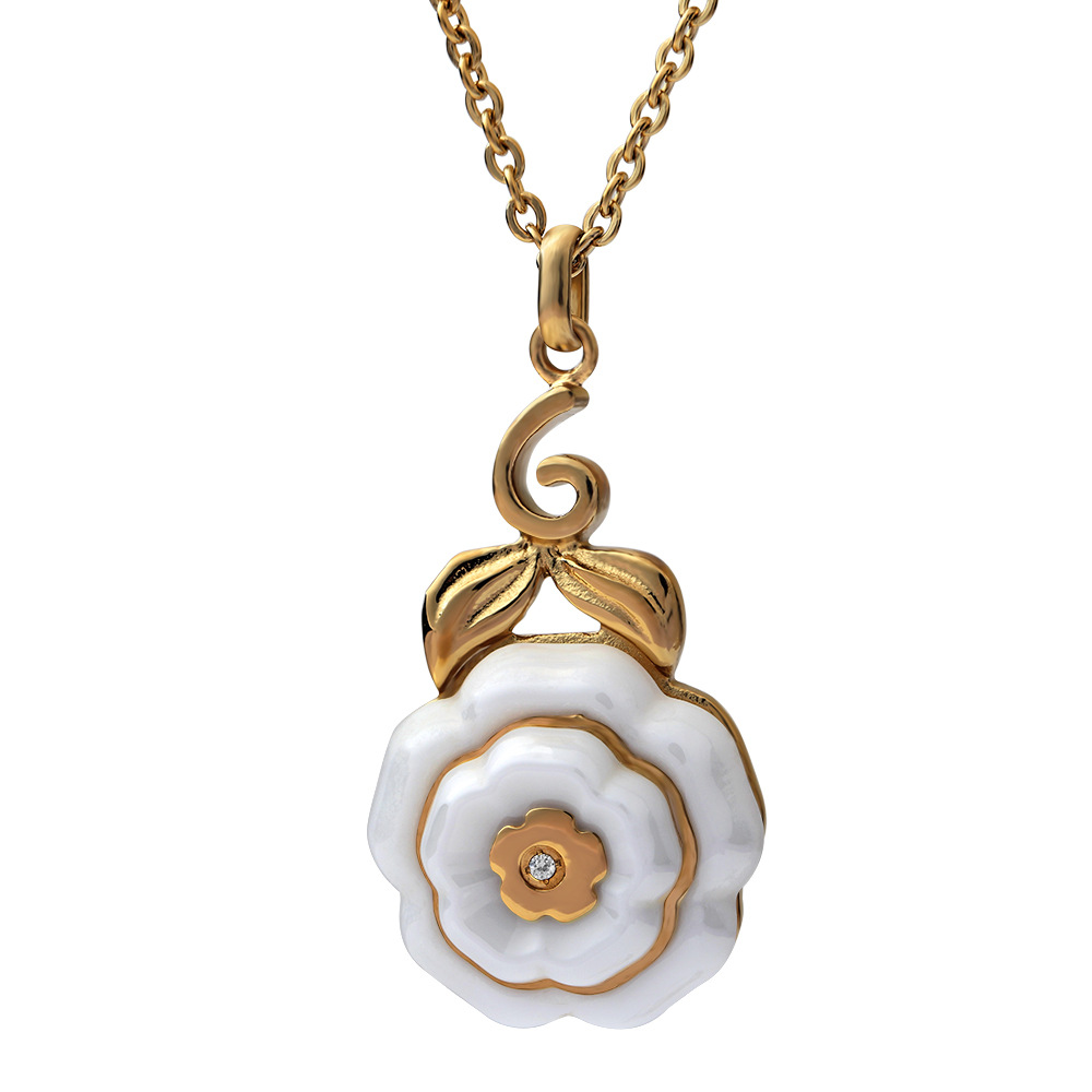 WENZHE Stainless steel 18k gold plated women rose rosary ceramic sweater pendant necklace Featured Image