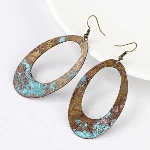 Vintage Copper Blue Patina Oval Hollow Dangle Earring
