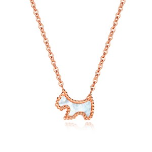 New Titanium Steel Rose Gold Cute Dog Animal Necklace Women Pendant Chain Choker Necklace