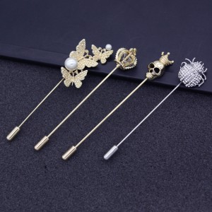Maple Leaf Long Brooch Pin Fashion Insect Crystal Pin Men's Suit Pearl Pin