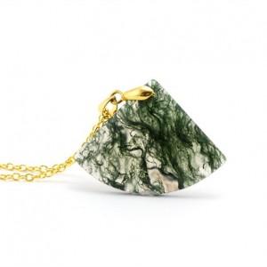 Moss Agate Fan Necklace