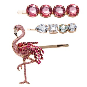 WENZHE New Crystal Flamingo Hair Pins Sets for Women Girls Colorful Hair Jewelry Barrette Animal rhinestone Hair Clip