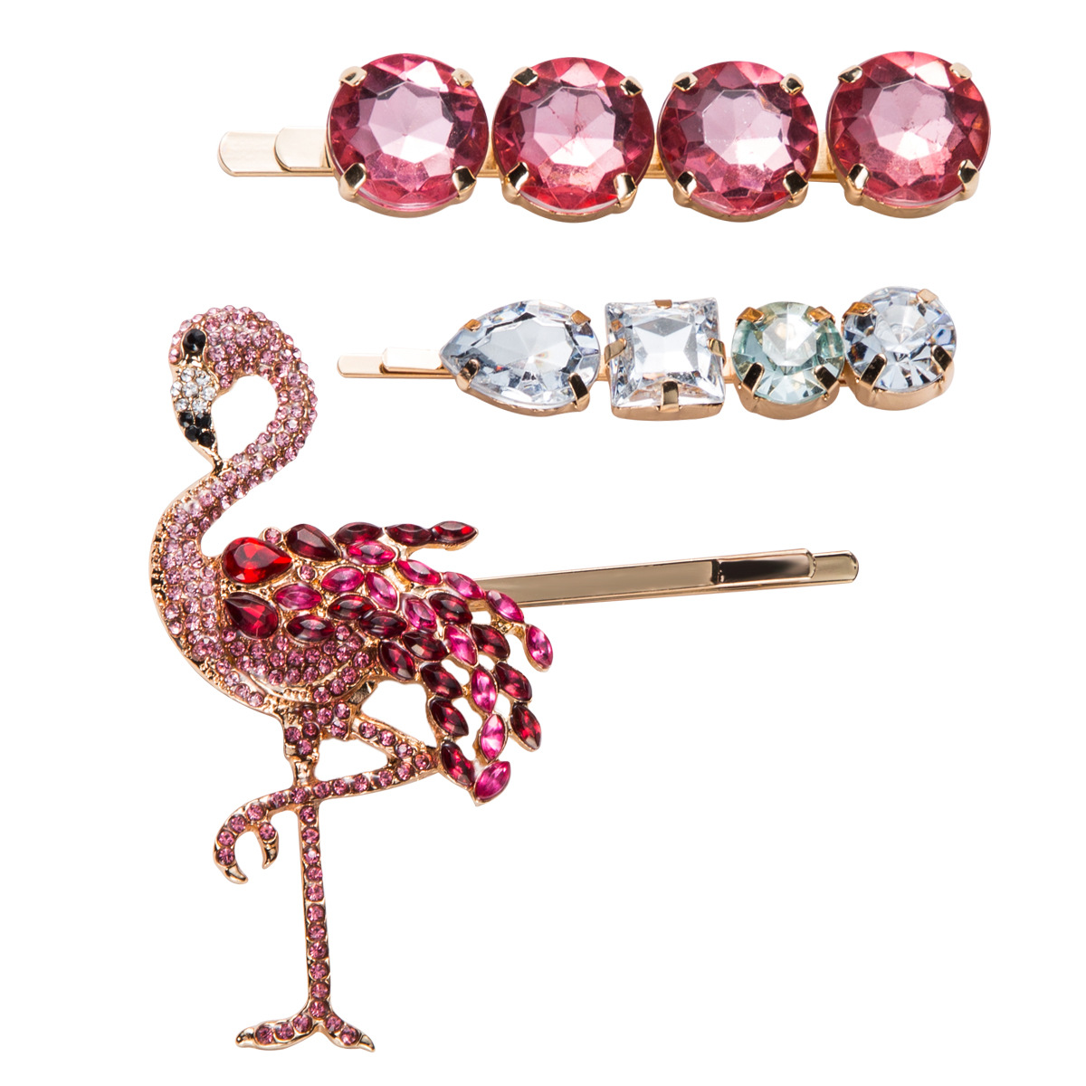 WENZHE New Crystal Flamingo Hair Pins Sets for Women Girls Colorful Hair Jewelry Barrette Animal rhinestone Hair Clip Featured Image