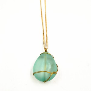 Latest Arrival Ocean Jewelry Gold Wire Wrap Sea Glass Beach Glass Pendant Necklace