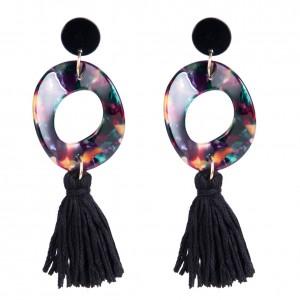 Fashion design custom acrylic hoop earrings black acrylic tassel earrings