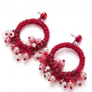 New Boho Handmade Circle Seed Bead Weaving Dangle Earrings For Women