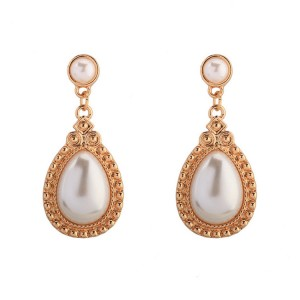 Fashion new arrival simple style indian gold wedding bridal water drop shape pearl earrings
