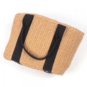 WENZHE Straw Handbag for Women Retro Summer Beach Rattan Woven Tote Bag